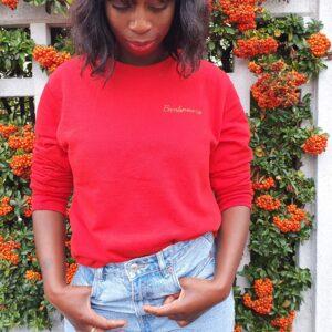 sweat-shirt Rouge banlieusarde, broderie dorée
