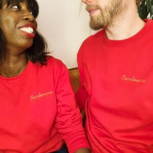 sweat-shirt Rouge BANLIEUSARD, broderie dorée